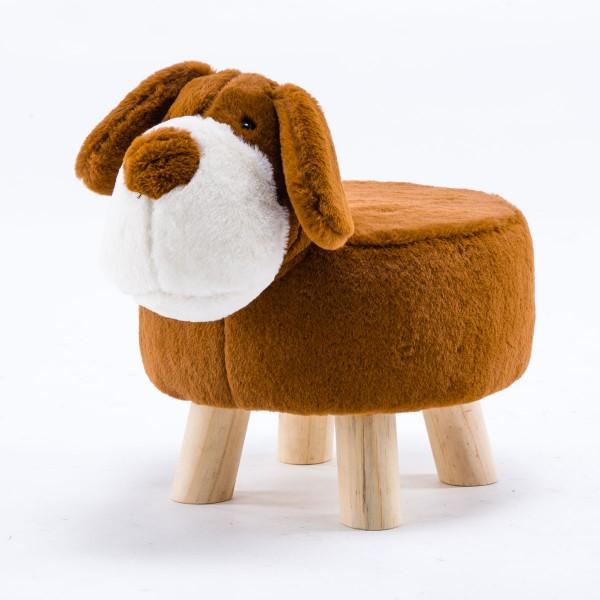 Tierhocker Hund klein Stoff braun