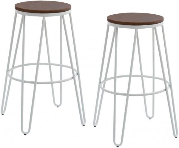 Barhocker Metall weiß matt Holzsitz 2-er Set