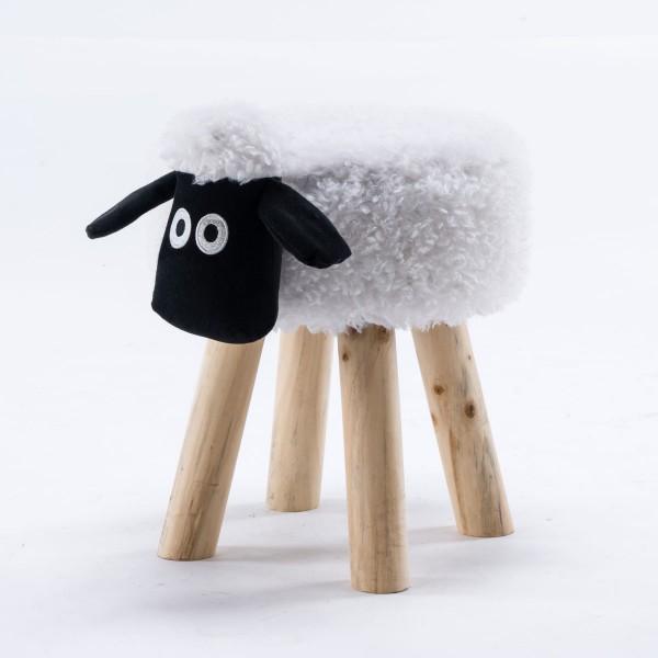 Tierhocker Schaf klein Stoff weiß