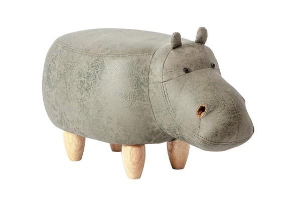 Tierhocker Nilpferd Hippo Stoff grün