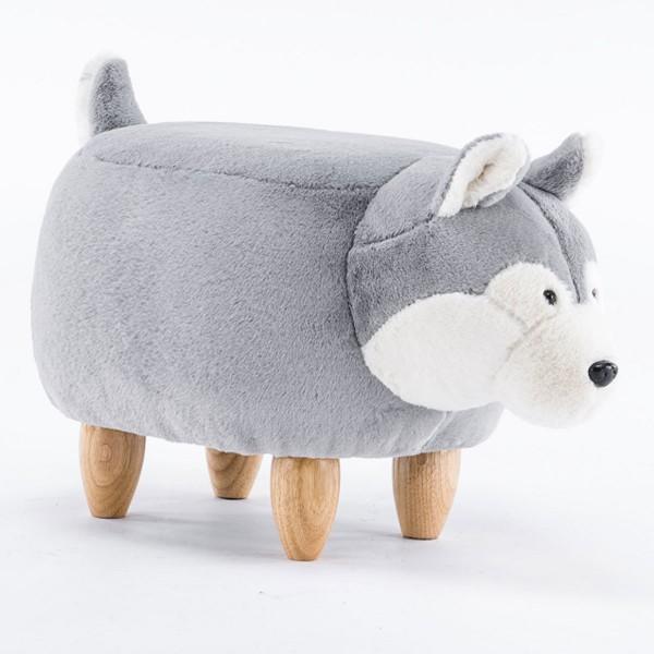Tierhocker Hund Husky Stoff hellgrau