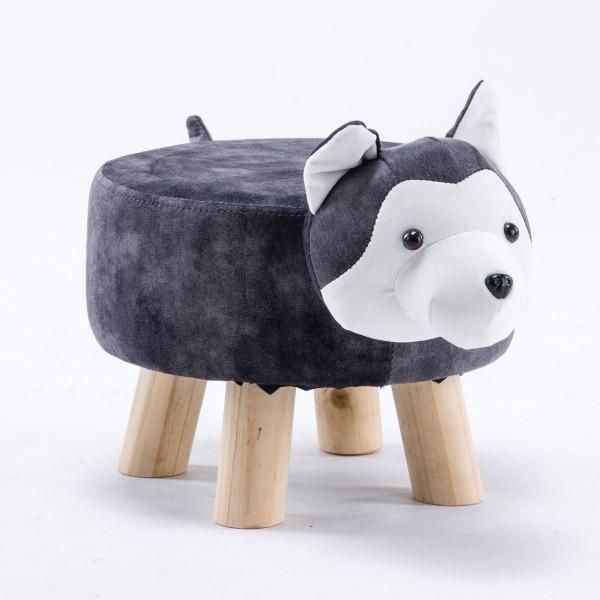 Tierhocker Hund Husky klein Stoff grau