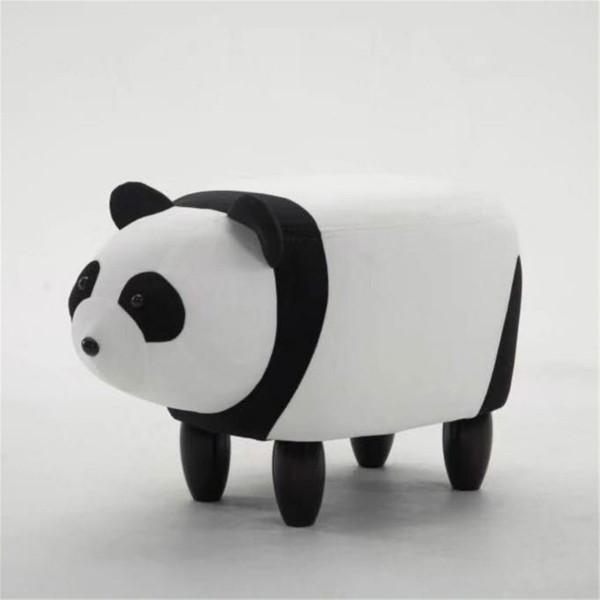 Tierhocker Panda Stoff weiß schwarz