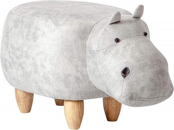 Tierhocker Nilpferd Hippo Stoff weiß