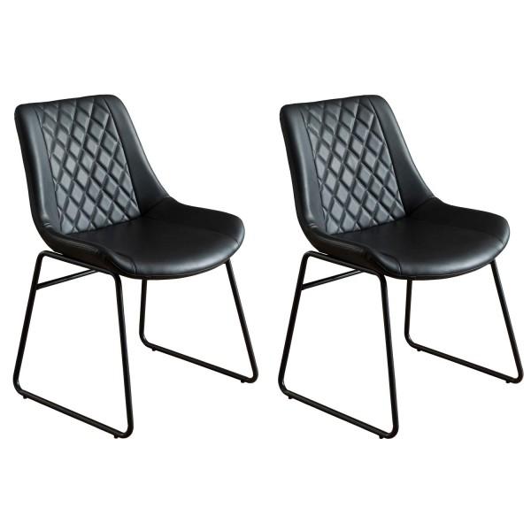 Stuhl Metall schwarz 2-er Set