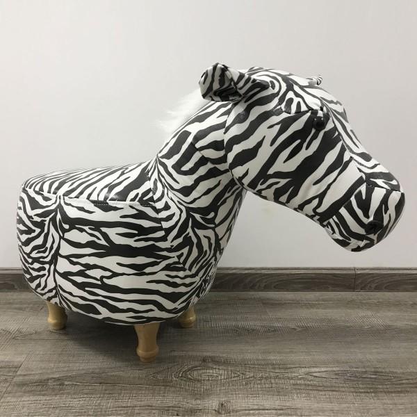Tierhocker Zebra Stoff schwarz weiß