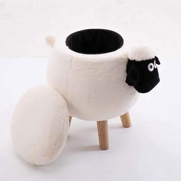 Tierhocker dickes Schaf mit Staufach Stoff weiß