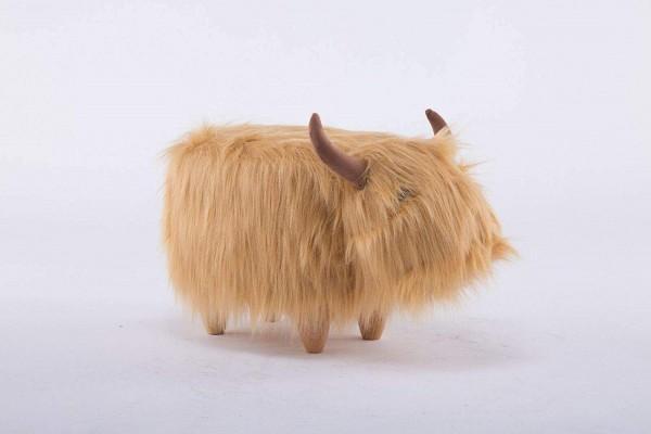Tierhocker Rind Kuh Stoff fluffig beige