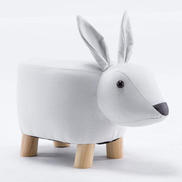 Tierhocker Hase klein Stoff weiß