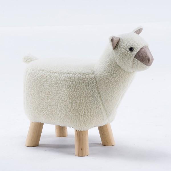 Tierhocker Alpaka klein Stoff weiß