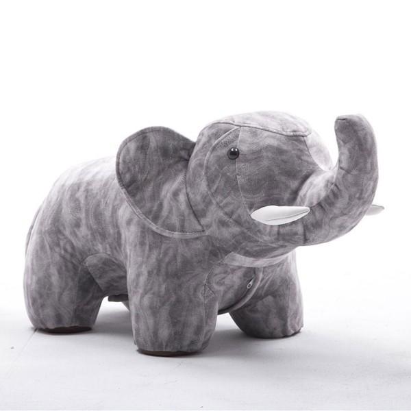 Tierhocker Elefant Stoff grau