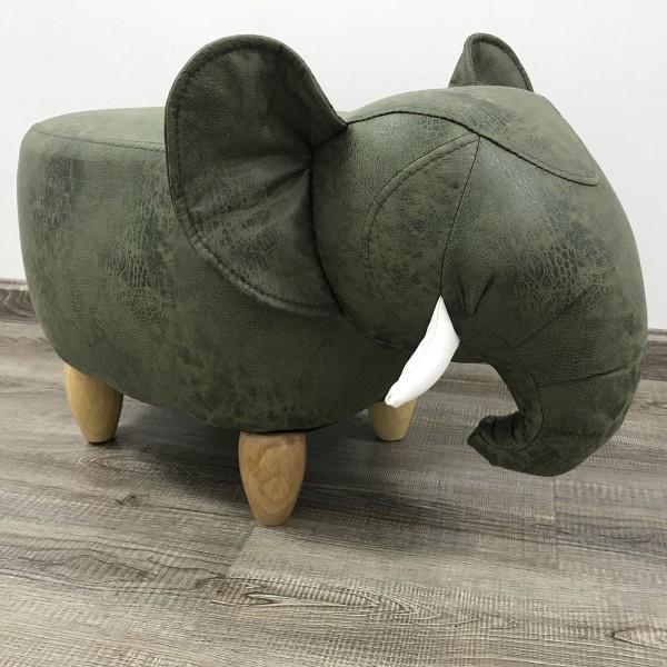 Tierhocker Elefant Stoff grün